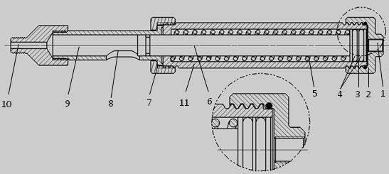 ②机械复位注剂枪结构剖视图